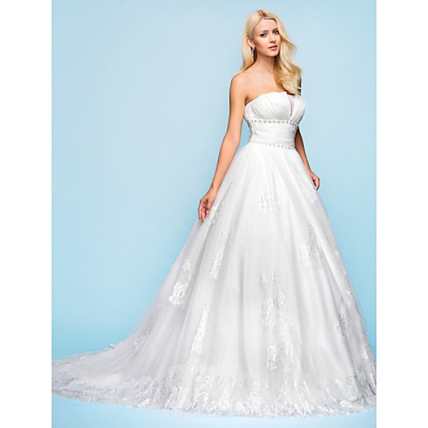 Ball Gown Plus Sizes Wedding Dress - Ivory Court Train Strapless Organza/Tulle Wedding Dresses