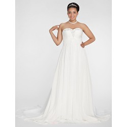 A Line Princess Plus Sizes Wedding Dress Ivory Court Train Sweetheart Chiffon