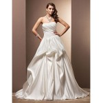 A-line Plus Sizes Wedding Dress - Ivory Chapel Train Sweetheart Satin Wedding Dresses