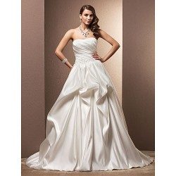 A Line Plus Sizes Wedding Dress Ivory Chapel Train Sweetheart Satin