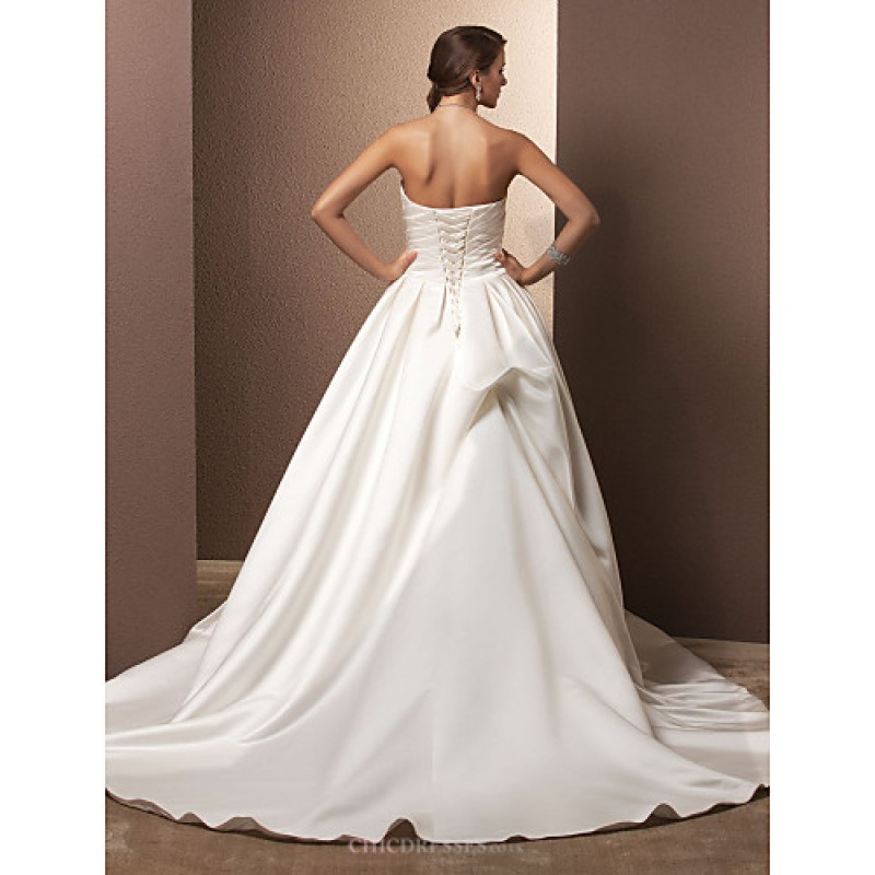 A line plus sizes wedding dress ivory chapel train for Plus size silk wedding dresses