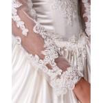 Ball Gown Plus Sizes Wedding Dress - Ivory Chapel Train V-neck Satin/Tulle Wedding Dresses