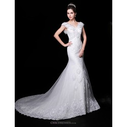 Trumpet/Mermaid Wedding Dress - White Court Train V-neck Lace/Organza/Charmeuse