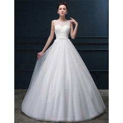 A Line Wedding Dress White Floor Length Scoop Tulle