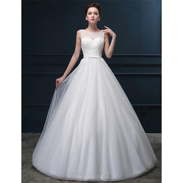 A-line Wedding Dress - White Floor-length Scoop Tulle Wedding Dresses