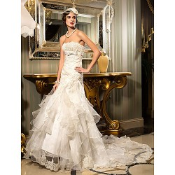 Trumpet/Mermaid Wedding Dress - Ivory Court Train Strapless Satin/Lace/Organza