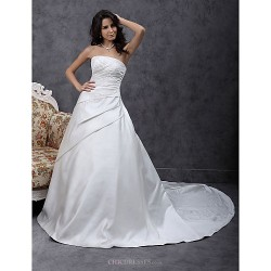A Line Princess Plus Sizes Wedding Dress Ivory Chapel Train Strapless Satin