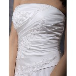 A-line/Princess Plus Sizes Wedding Dress - Ivory Chapel Train Strapless Satin Wedding Dresses