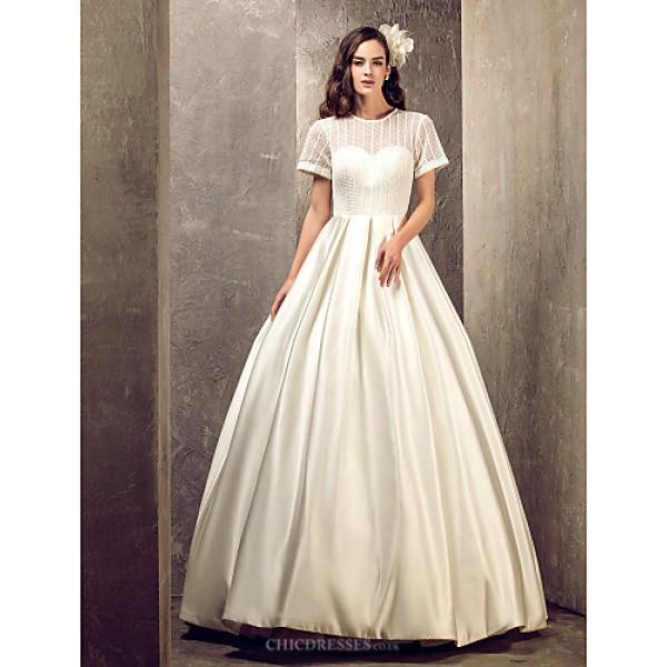 A-line Plus Sizes Wedding Dress - Ivory Floor-length Jewel Satin Wedding Dresses