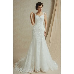 Fit & Flare Floor Length Wedding Dress Sweetheart Satin