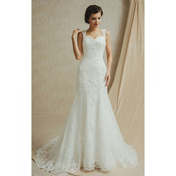 Fit & Flare Floor-length Wedding Dress -Sweetheart Satin Wedding Dresses