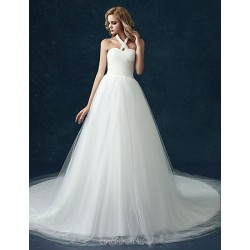 A Line Wedding Dress White Cathedral Train Halter Tulle