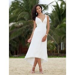A-line/Princess Plus Sizes Wedding Dress - Ivory Asymmetrical V-neck Chiffon