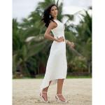 A-line/Princess Plus Sizes Wedding Dress - Ivory Asymmetrical V-neck Chiffon Wedding Dresses