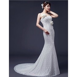 Trumpet Mermaid Wedding Dress White Sweep Brush Train One Shoulder Lace