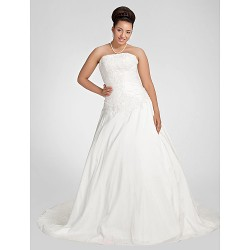 A-line Plus Sizes Wedding Dress - White Chapel Train Strapless Taffeta