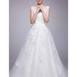 A-line Chapel Train Wedding Dress -Bateau Organza