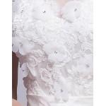 A-line Chapel Train Wedding Dress -Bateau Organza Wedding Dresses