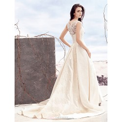 A Line Wedding Dress Ivory Court Train Scoop Satin Tulle