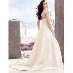 A-line Wedding Dress - Ivory Court Train Scoop Satin / Tulle Wedding Dresses