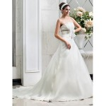 A-line/Princess Plus Sizes Wedding Dress - Ivory Court Train Strapless Organza Wedding Dresses