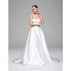 A-line Wedding Dress - White Chapel Train Sweetheart Satin