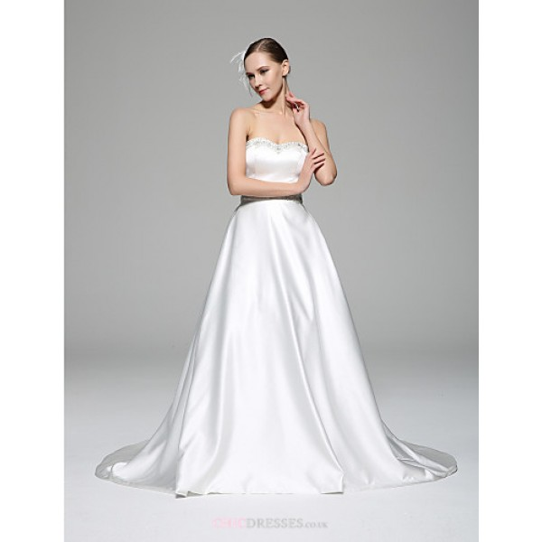 A-line Wedding Dress - White Chapel Train Sweetheart Satin Wedding Dresses