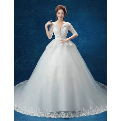 Ball Gown Wedding Dress White Cathedral Train V Neck Lace Tulle