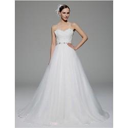 A Line Wedding Dress White Chapel Train Spaghetti Straps Organza