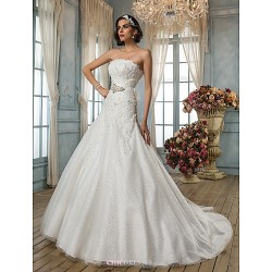 A-line/Princess Wedding Dress - Ivory Chapel Train Strapless Satin/Tulle/Sequined/Lace