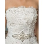 A-line/Princess Wedding Dress - Ivory Chapel Train Strapless Satin/Tulle/Sequined/Lace Wedding Dresses