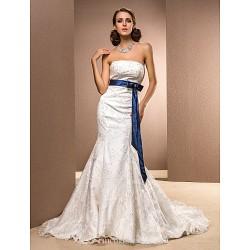 Trumpet Mermaid Plus Sizes Wedding Dress Ivory Chapel Train Strapless Satin