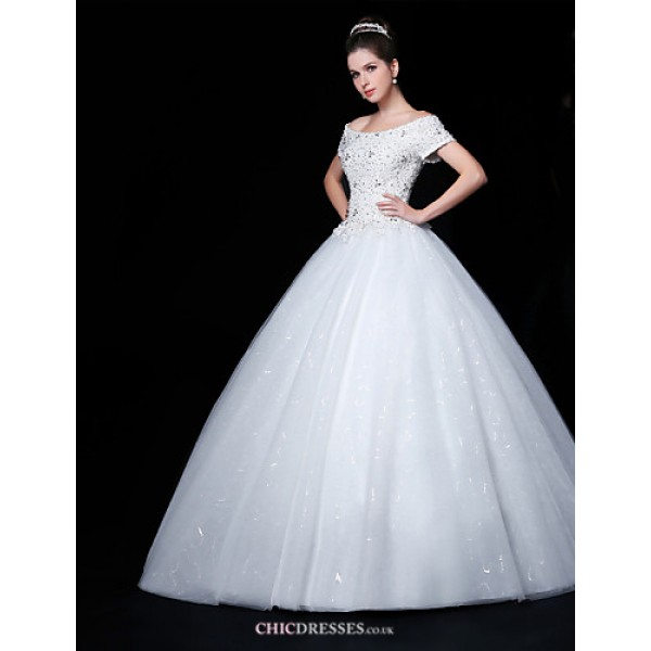 Ball Gown Wedding Dress - White Floor-length Off-the-shoulder Lace/Organza/Charmeuse Wedding Dresses