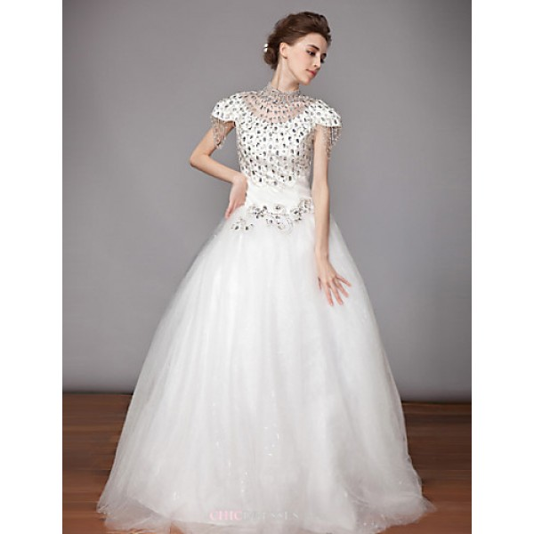 Ball Gown Wedding Dress - White Floor-length High Neck Chiffon / Organza Wedding Dresses