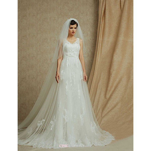 A-line Cathedral Train Wedding Dress -V-neck Lace Wedding Dresses