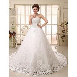 Ball Gown Wedding Dress White Chapel Train Sweetheart Tulle