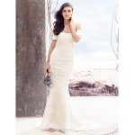 Trumpet/Mermaid Wedding Dress - Ivory Court Train Off-the-shoulder Lace Wedding Dresses