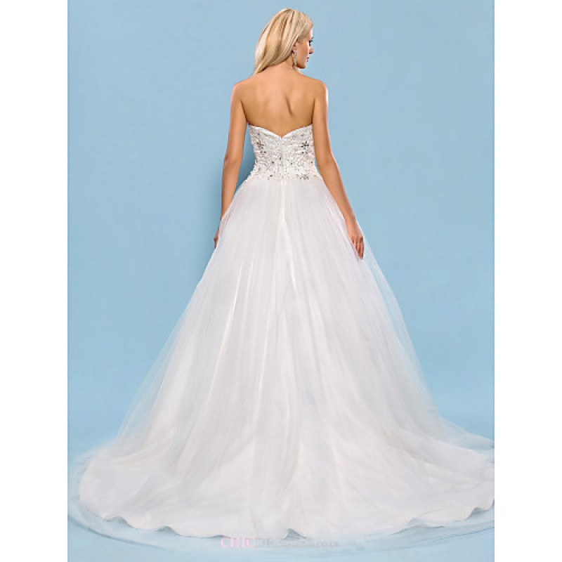 Ball Gown Plus Sizes Wedding Dress Ivory Chapel Train Sweetheart Tulle Satin Cheap Uk Dresses Online Shop Chicdresses Co Uk