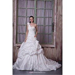 Fit & Flare Wedding Dress Chapel Train One Shoulder Taffeta
