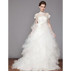 Princess High Neck Chapel Train Wedding Dress (Organza)