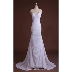Sheath/Column Court Train Wedding Dress -V-neck Satin
