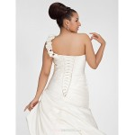 A-line Plus Sizes Wedding Dress - Ivory Chapel Train One Shoulder Satin Wedding Dresses