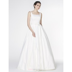 - A-line Wedding Dress - Ivory Court Train Square Satin
