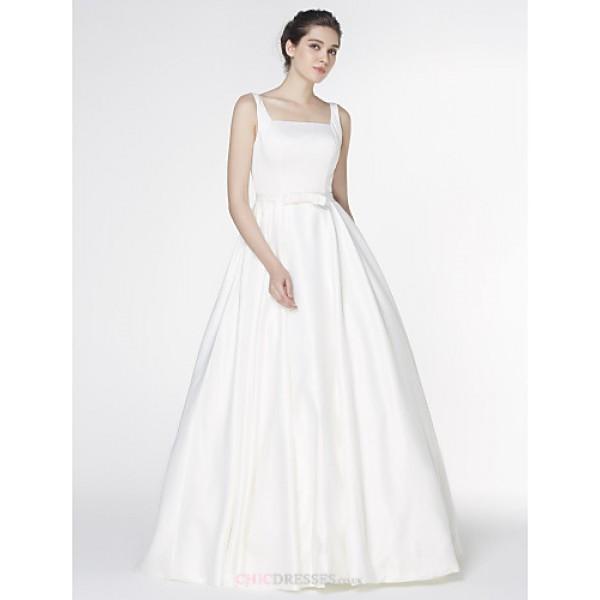 - A-line Wedding Dress - Ivory Court Train Square Satin Wedding Dresses
