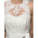 Trumpet/Mermaid Wedding Dress - Ivory Court Train Jewel Satin/Lace Wedding Dresses