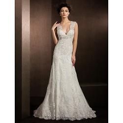 Sheath Column Wedding Dress Ivory Court Train V Neck Lace
