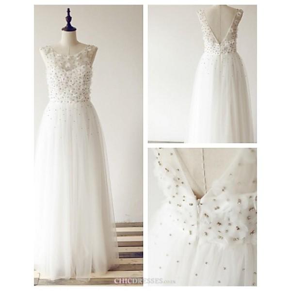 A-line Wedding Dress - Ivory Floor-length Scoop Tulle Wedding Dresses