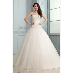 Ball Gown Wedding Dress White Court Train Strapless Tulle