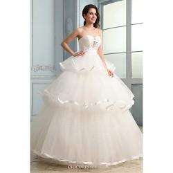 Ball Gown Wedding Dress White Floor Length Strapless Tulle