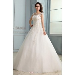 A-line Wedding Dress - White Floor-length Scoop Tulle